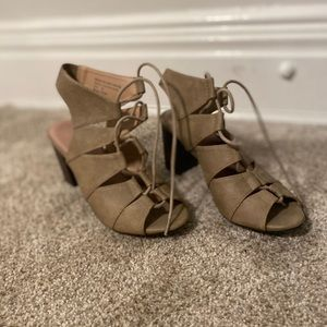 Restricted lace up heeled sandals- nude